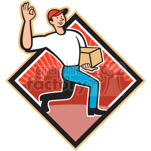 delivery man okay sign dia clipart. Commercial use image # 388148
