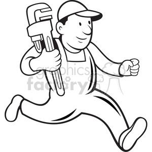 black and white plumber monkey wrench running 001 clipart. Commercial use image # 388158