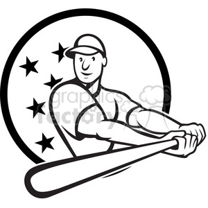 black and white baseball player batting side low CIRC clipart. Royalty-free image # 388168
