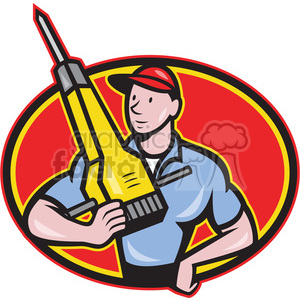 construction worker jackhammer frnt OVAL clipart. Royalty-free image # 388188