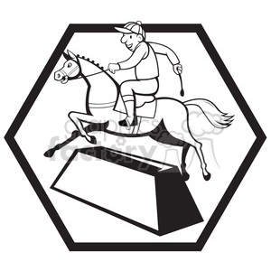 black and white jockey ridinghorse side clipart. Royalty-free image # 388198