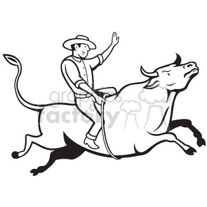 black and white rodeo cowboy bull riding side right clipart. Royalty-free image # 388208