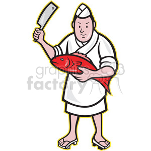 japanese sushi chef fish knife clipart. Royalty-free image # 388218