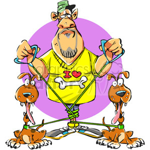 cartoon pet owner tangled in leashes clipart. Royalty-free image # 388228