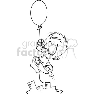 black and white little boy floating away on a balloon