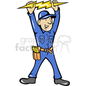 cartoon construction worker working career job labor foreman electrician  volt voltage electricity electrical employee