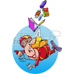 cartoon man sky diver with wrong backpack clipart. Commercial use image # 388338