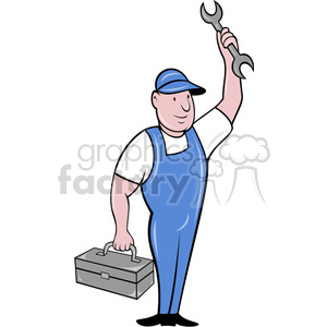 repairman holding a wrench clipart. Commercial use image # 388348