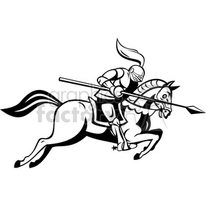 cartoon knight lance horse jousting medieval knights black+white
