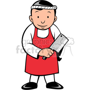 cartoon butcher with cleaver clipart. Royalty-free image # 388368
