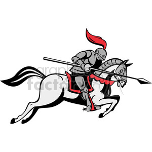 knight with jousting lance riding horse clipart. Commercial use image # 388378