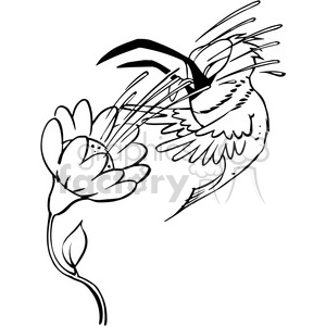 bird getting splashed by a flower black and white clipart. Commercial use image # 388406