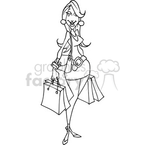 female shopping in black and white clipart. Commercial use image # 388496