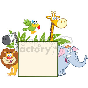 Safari Animals Behind A Blank Sign With Leafs clipart. Royalty-free image # 388666