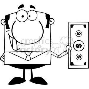 5566 Royalty Free Clip Art Smiling Business Man Holding A Dollar Bill clipart. Royalty-free image # 388686