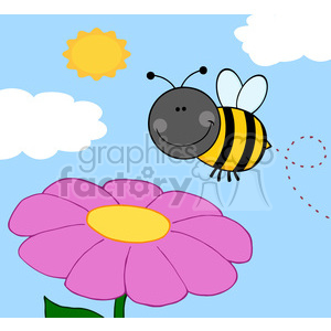 5600 Royalty Free Clip Art Smiling Bumble Bee Flying Over Flower clipart. Royalty-free image # 388696