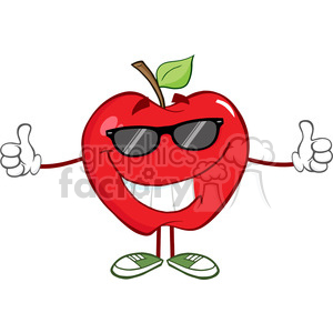5797 Royalty Free Clip Art Smiling Red Apple Character With Sunglasses Giving A Thumb Up clipart. Commercial use image # 388706