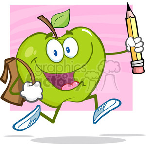 5804 Royalty Free Clip Art Happy Green Apple Character With School Bag And Pencil Goes To School clipart. Royalty-free image # 388726