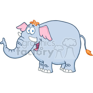 5621 Royalty Free Clip Art Happy Elephant Cartoon Mascot Character clipart. Commercial use image # 388736