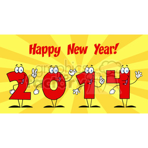 5666 Royalty Free Clip Art 2014 New Year Numbers Cartoon Characters1 clipart. Royalty-free image # 388748