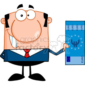5572 Royalty Free Clip Art Smiling Business Man Holding A Euro Bill clipart. Royalty-free image # 388788