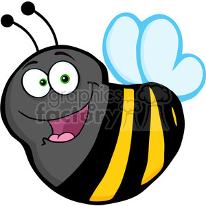 5592 Royalty Free Clip Art Happy Bumble Bee Cartoon Mascot Character clipart. Royalty-free image # 388798