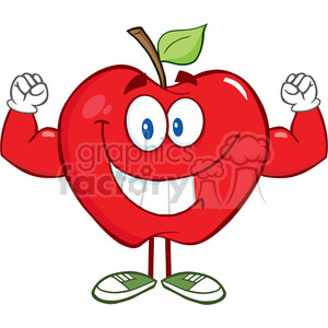 5759 Royalty Free Clip Art Smiling Apple Cartoon Mascot Character With Muscle Arms clipart. Royalty-free image # 388817