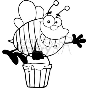 5576 royalty free clip art smiling bee flying with a honey bucket and waving for greeting