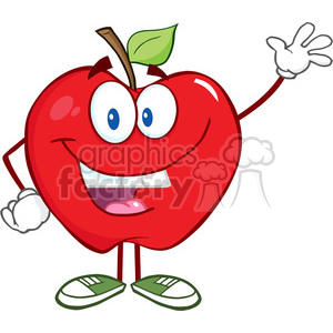 5753 Royalty Free Clip Art Smiling Apple Cartoon Mascot Character Waving For Greeting clipart. Royalty-free image # 388837