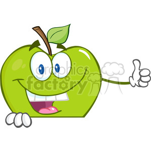 5769 Royalty Free Clip Art Smiling Green Apple Cartoon Character Holding A Thumb Up Over Blank Sign clipart. Royalty-free image # 388858