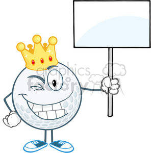 5726 Royalty Free Clip Art Winking Golf Ball With Gold Crown Holding A Blank Sign clipart. Commercial use image # 388868