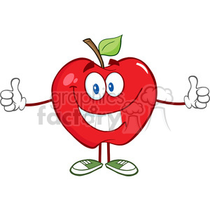 5796 Royalty Free Clip Art Apple Cartoon Mascot Character Giving A Thumb Up clipart. Royalty-free image # 388888