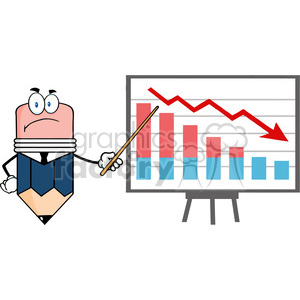 5895 Royalty Free Clip Art Grumpy Business Pencil Cartoon Character With Pointer Presenting A Falling Chart clipart. Royalty-free image # 388918