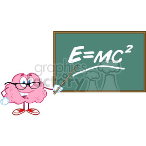 5818 Royalty Free Clip Art Smiling Brain Teacher Character With A Pointer In Front Of Chalkboard With Einstein Formula E mc2 clipart. Royalty-free image # 388928