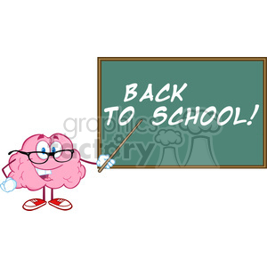 5816 Royalty Free Clip Art Smiling Brain Teacher Character With A Pointer In Front Of Chalkboard With Text clipart. Commercial use image # 388968