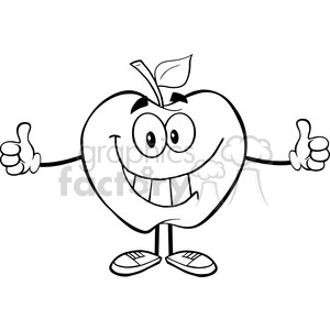 5966 Royalty Free Clip Art Apple Cartoon Mascot Character Giving A Thumb Up clipart. Royalty-free image # 388978
