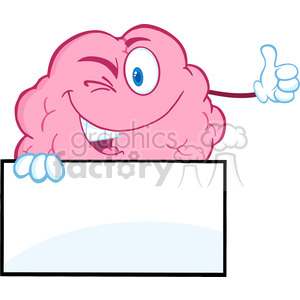 5823 Royalty Free Clip Art Winking Brain Character Holding A Thumb Up Over Sign clipart. Royalty-free image # 389018