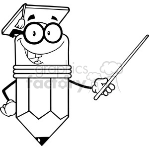 5897 Royalty Free Clip Art Smiling Pencil Teacher With Graduate Hat Holding A Pointer