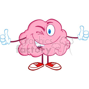 5822 Royalty Free Clip Art Winking Brain Character Giving A Thumb Up clipart. Royalty-free image # 389058