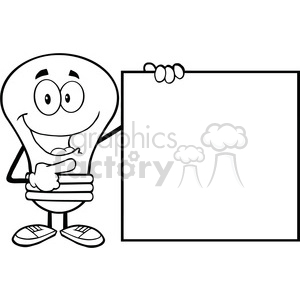 6015 Royalty Free Clip Art Happy Light Bulb Cartoon Mascot Character Showing A Blank Sign