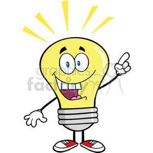 6039 Royalty Free Clip Art Light Bulb Cartoon Mascot Character With A Bright Idea clipart. Royalty-free image # 389098