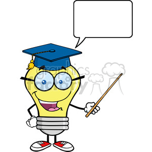 6083 Royalty Free Clip Art Smiling Light Bulb Teacher Character With A Pointer And Speech Bubble