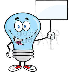 6056 Royalty Free Clip Art Blue Light Bulb Cartoon Character Holding Up A Blank Sign clipart. Commercial use image # 389118