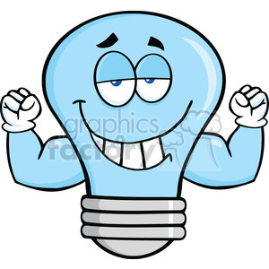 6122 Royalty Free Clip Art Smiling Blue Light Bulb Cartoon Mascot Character With Muscle Arms clipart. Royalty-free image # 389138