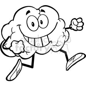 5982 Royalty Free Clip Art Healthy Brain Cartoon Character Jogging