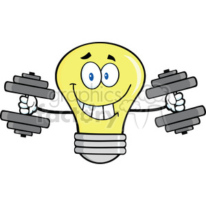 6109 Royalty Free Clip Art Smiling Light Bulb Cartoon Character Training With Dumbbells clipart. Royalty-free image # 389168