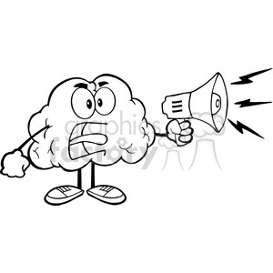 5996 Royalty Free Clip Art Angry Brain Cartoon Character Screaming Into Megaphone clipart. Royalty-free image # 389178