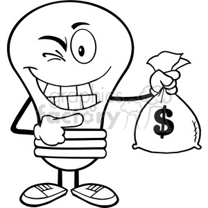 6012 Royalty Free Clip Art Light Bulb Cartoon Mascot Character Holding A Bag Of Money clipart. Royalty-free image # 389188