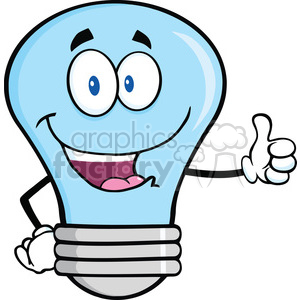6128 Royalty Free Clip Art Blue Light Bulb Cartoon Mascot Character Giving A Thumb Up clipart. Commercial use image # 389198