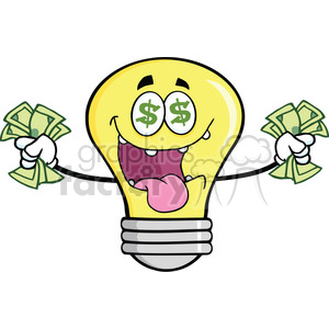 6136 Royalty Free Clip Art Money Loving Light Bulb Cartoon Character clipart. Royalty-free image # 389218